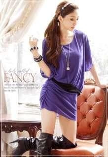 New Womens Batwing Boat Neck Tunic Hip Length Micro Mini Dress Long T