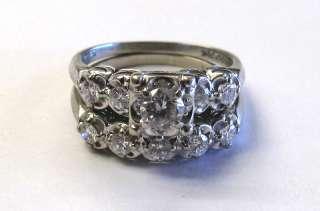 DASHING 14K WHITE GOLD DIAMOND ENGAGEMENT RING SET
