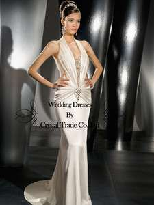 Halter White/Ivory Wedding Bridal Gown Prom Bridesmaid Evening Dress