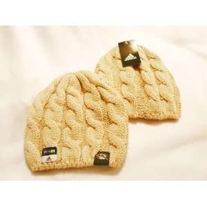 Womens Braided Knit Beanie Hat Licensed by Adidas