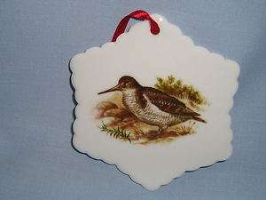 Game Birds Woodcock Snowflake Porcelain Christmas Tree Ornament Fired