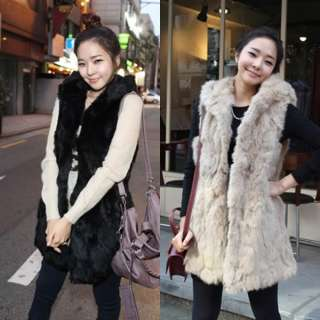 New Womens Fashion Casual Artificial fur Sleeveless Vest Long