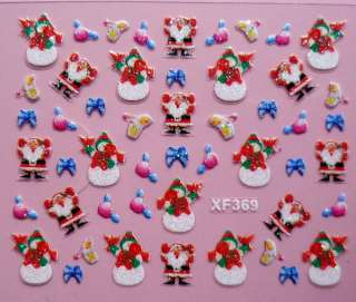 Christmas Tree Snow Design 3D Nail Art Stickers Sheet Decal