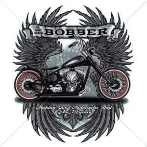 Bobber Motorcycle T Shirt harley rider OLD SCHOOL!!!!!