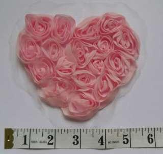 Victorian 3D Chiffon Pink Rose Heart Shape Appliques SA072