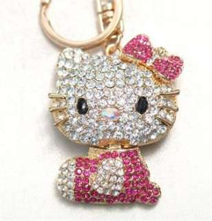 New Hello Kitty Fashion Cat Swarovski Crystal Charm Pendant Key Bag