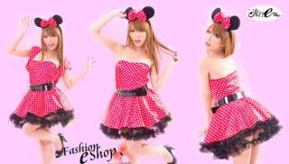 Japan Cosplay Disney Minnie Mouse Polka Dots Red Dress