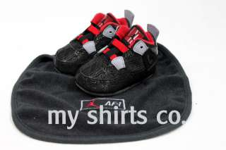 Nike AJF 4 Black Red Infant Baby Crib Shoes