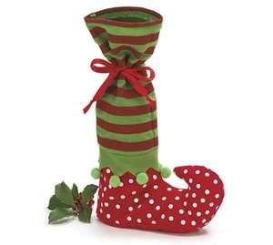 Wine Bottle Bag Christmas Holiday Gift Santas Helper Elf Boot