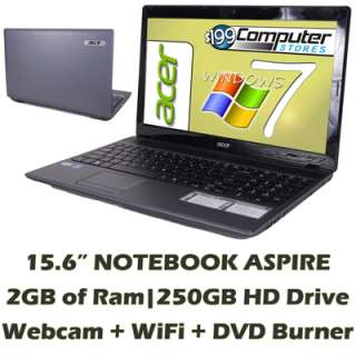 Acer Aspire + Windows 7 and Warranty Notebook Laptop Computer; Webcam