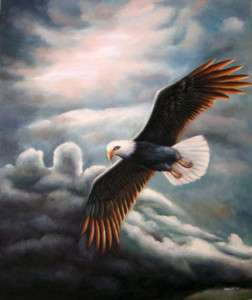 Art Oil painting flying bird hawk in the sky & sunrise