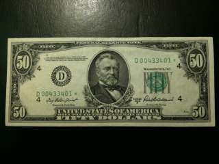 1950 B Fifty Dollar $50 AU STAR Note FRN Grant Cleveland Bank Bill D