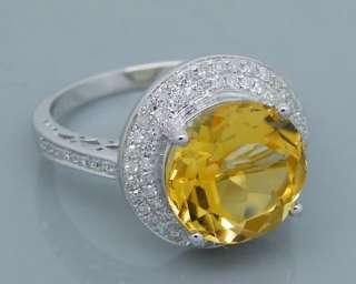 Solid 14kt White Gold 5.71Ct VS Diamond Yellow Citrine Ring