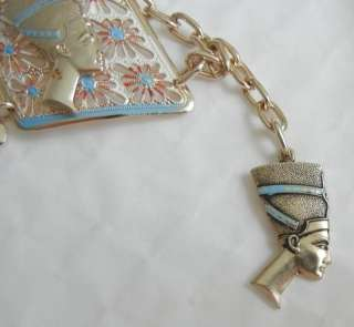 Queen Nefertiti EGYPTIAN Gold Tone Enamel BRACELET