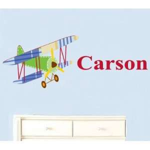 Vinyl Wall Decal Vintage Airplane Swith Boys Name Great for Nursery