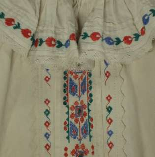 Hand embroidered Romanian peasant blouse ethnic folk costume homespun