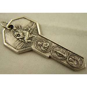 Rare St Saint Christopher Medal Silver Travel Protection Key to Heaven