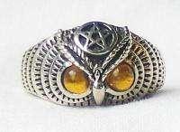 Sterling Silver OWL RING Pentagram Carnelian Eyes NEW