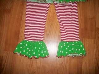 Mis Tee V US Girls Christmas Polka Dot Top Pants 5 6 EUC ADORABLE