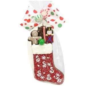 Golda & I Chocolatiers Milk & Crispy Stocking, Red with Snowflakes, 5