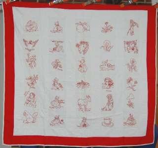 20s Vintage Redwork Pictorial Antique Crib Quilt ~Embroidered Horses
