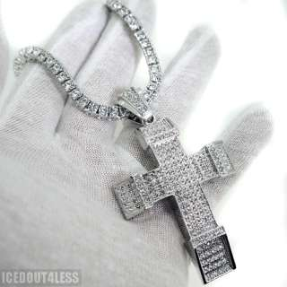 White Gold Finish Heavy Block Style Iced Out Cross Czech Crystals Nice