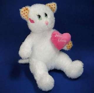 Royal Plush White KITTY CAT Pink Heart JESUS LOVES ME