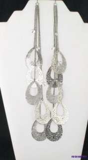 Silver Extra Long 10 Multi Chain Filigree Teardrop Dangle Earrings