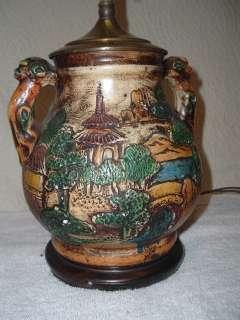Antique Japan Art Pottery Lamp Oriental Unusual Japanese