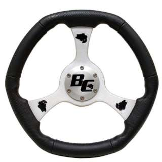 CUSTOM BASS CAT 14IN BLACK/SILVER BOAT STEERING WHEEL