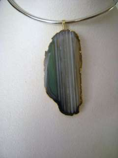 Natural Agate Geode Slice Gold Dip Pendant Green Gray3