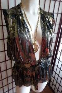 80s Vtg METALLIC Plunging LIQUID GOLD & Black STUDIO 54 PARTY Dress