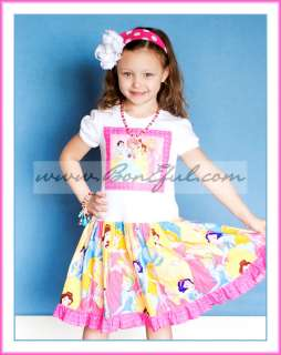 CUSTOM 4 Girl DISNEY Princess Movie TWIRL Birthday Vacation Dress