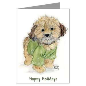 Christmas Shih Tzu Brown Puppy Greeting Cards Pac Pets Greeting Cards