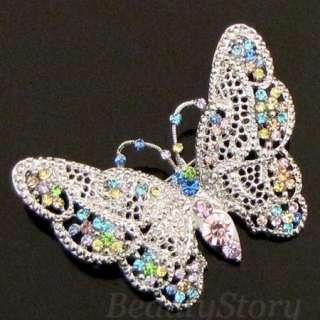 ADDL Item  Austrian rhinestone bouquet butterfly brooch