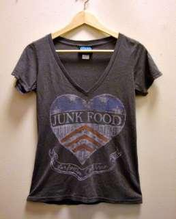 Junk Food Womens V Neck USA American Flag Heart Logo Grey Gray Tee T