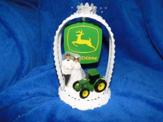 NEW JOHN DEERE WEDDING CAKE TOP WITH BRIDE & GROOM #4