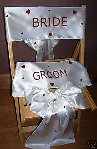 NEW white satin bride & groom wedding chair sashes