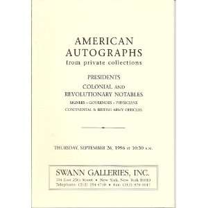 American Autographs from Private Collections: Public Auction Sale 1734