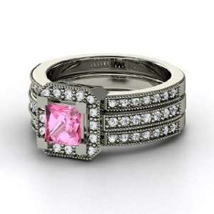 Va Voom Ring, Princess Pink Sapphire Platinum Ring with