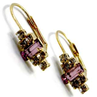 Special Occasion Gold 18k GF Earrings CZ Purple Lilac Crystal