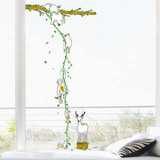 animals tree wall removable decal sticker