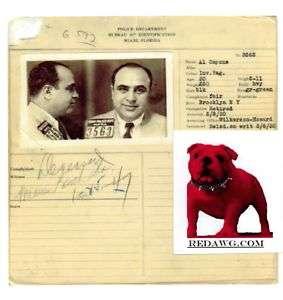 Alphose Al Capone Gangser Criminal Mobser Police File Record copy