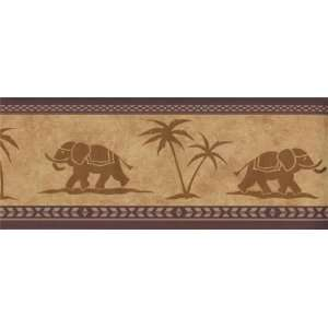 Wallpaper Border Gold Elephant with Palm Tree Kitchen