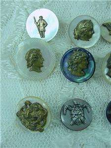 Antique Victorian Brass MOP Figural Cameo Button Lot Bird Turtle Cameo