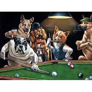 Velvet Painting of Dogs Playing Pool/Billiards 24x18