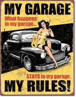Vintage Retro Tin Sign Sexy Girl My Garage My Rules Car