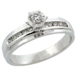 10k White Gold Diamond Engagement Ring w/ 0.20 Carat Brilliant Cut