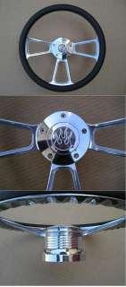 14 Half Wrap Aluminum Steering Wheel w/ Flame Horn
