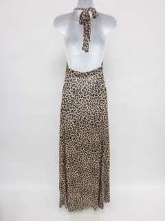 You are bidding on a DESIGNER Brown Animal Print Halter Maxi Dress